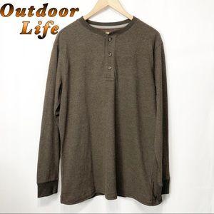Outdoor Life Brown 3 button Henley M